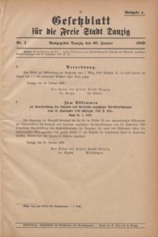 Gesetzblatt für die Freie Stadt Danzig.1929, Nr. 4 (30 Januar) - Ausgabe A