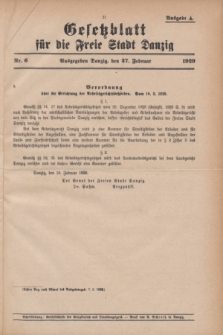 Gesetzblatt für die Freie Stadt Danzig.1929, Nr. 6 (27 Februar) - Ausgabe A