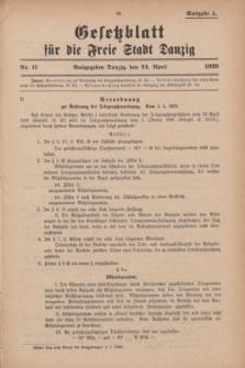 Gesetzblatt für die Freie Stadt Danzig.1929, Nr. 11 (24 April) - Ausgabe A