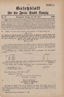 Gesetzblatt für die Freie Stadt Danzig.1929, Nr. 15 (29 Juni) - Ausgabe A