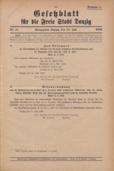 Gesetzblatt für die Freie Stadt Danzig.1929, Nr. 17 (24 Juli) - Ausgabe A