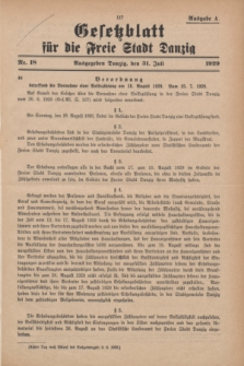 Gesetzblatt für die Freie Stadt Danzig.1929, Nr. 18 (31 Juli) - Ausgabe A