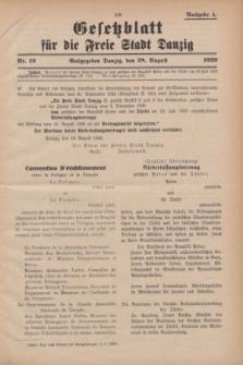 Gesetzblatt für die Freie Stadt Danzig.1929, Nr. 19 (28 August) - Ausgabe A