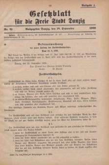 Gesetzblatt für die Freie Stadt Danzig.1929, Nr. 21 (18 September) - Ausgabe A