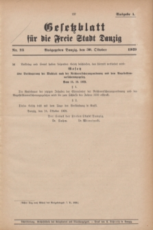 Gesetzblatt für die Freie Stadt Danzig.1929, Nr. 23 (30 Oktober) - Ausgabe A