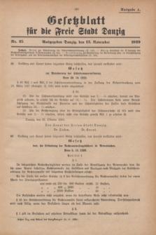 Gesetzblatt für die Freie Stadt Danzig.1929, Nr. 25 (13 November) - Ausgabe A