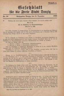 Gesetzblatt für die Freie Stadt Danzig.1929, Nr. 28 (11 Dezember) - Ausgabe A
