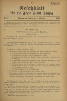 Gesetzblatt für die Freie Stadt Danzig.1931, Nr. 4 (4 Februar) - Ausgabe A