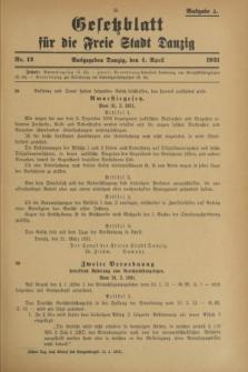 Gesetzblatt für die Freie Stadt Danzig.1931, Nr. 12 (4 April) - Ausgabe A