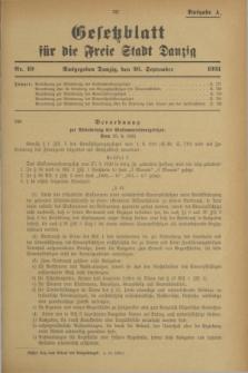 Gesetzblatt für die Freie Stadt Danzig.1931, Nr. 49 (26 September) - Ausgabe A