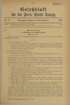 Gesetzblatt für die Freie Stadt Danzig.1931, Nr. 52 (30 September) - Ausgabe A