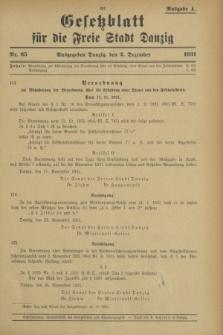Gesetzblatt für die Freie Stadt Danzig.1931, Nr. 65 (2 Dezember) - Ausgabe A