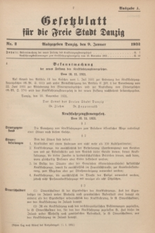 Gesetzblatt für die Freie Stadt Danzig.1932, Nr. 2 (9 Januar) - Ausgabe A