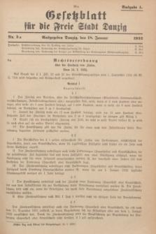 Gesetzblatt für die Freie Stadt Danzig.1932, Nr. 3 a (18 Januar) - Ausgabe A