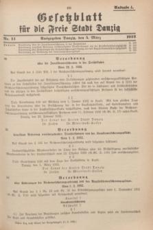 Gesetzblatt für die Freie Stadt Danzig.1932, Nr. 14 (5 März) - Ausgabe A