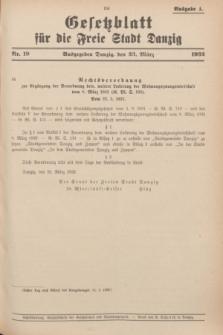 Gesetzblatt für die Freie Stadt Danzig.1932, Nr. 19 (23 März) - Ausgabe A