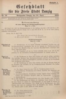 Gesetzblatt für die Freie Stadt Danzig.1932, Nr. 29 (30 April) - Ausgabe A