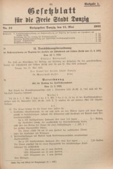 Gesetzblatt für die Freie Stadt Danzig.1932, Nr. 32 (14 Mai) - Ausgabe A