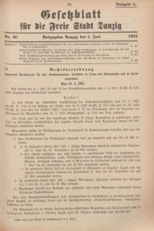 Gesetzblatt für die Freie Stadt Danzig.1932, Nr. 36 (1 Juni) - Ausgabe A
