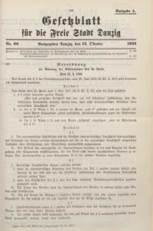 Gesetzblatt für die Freie Stadt Danzig.1932, Nr. 60 (12 Oktober) - Ausgabe A