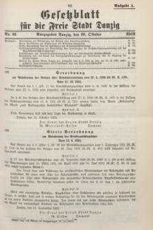 Gesetzblatt für die Freie Stadt Danzig.1932, Nr. 61 (19 Oktober) - Ausgabe A