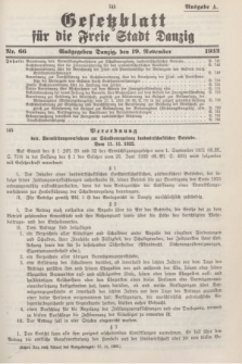 Gesetzblatt für die Freie Stadt Danzig.1932, Nr. 66 (19 November) - Ausgabe A