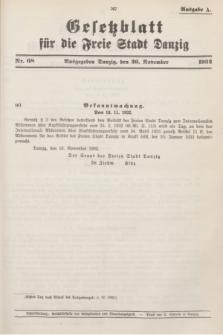 Gesetzblatt für die Freie Stadt Danzig.1932, Nr. 68 (26 November) - Ausgabe A