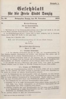 Gesetzblatt für die Freie Stadt Danzig.1932, Nr. 69 (30 November) - Ausgabe A
