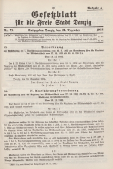Gesetzblatt für die Freie Stadt Danzig.1932, Nr. 74 (21 Dezember) - Ausgabe A
