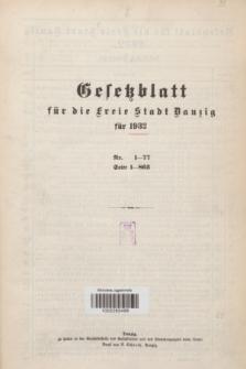 Gesetzblatt für die Freie Stadt Danzig.1932, Spis treści