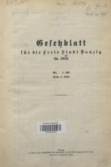 Gesetzblatt für die Freie Stadt Danzig.1933, Spis treści