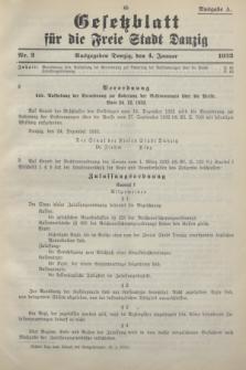 Gesetzblatt für die Freie Stadt Danzig.1933, Nr. 2 (4 Januar) - Ausgabe A