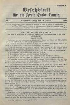 Gesetzblatt für die Freie Stadt Danzig.1933, Nr. 3 (18 Januar) - Ausgabe A