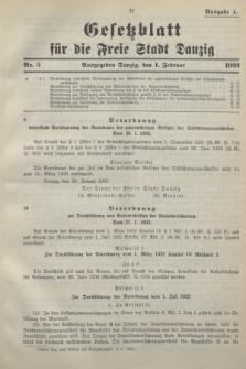 Gesetzblatt für die Freie Stadt Danzig.1933, Nr. 5 (1 Februar) - Ausgabe A