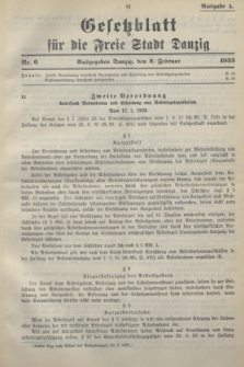 Gesetzblatt für die Freie Stadt Danzig.1933, Nr. 6 (2 Februar) - Ausgabe A