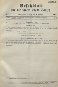 Gesetzblatt für die Freie Stadt Danzig.1933, Nr. 7 (8 Februar) - Ausgabe A