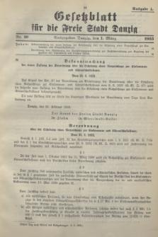 Gesetzblatt für die Freie Stadt Danzig.1933, Nr. 10 (1 März) - Ausgabe A