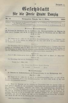 Gesetzblatt für die Freie Stadt Danzig.1933, Nr. 11 (4 März) - Ausgabe A
