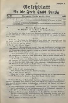 Gesetzblatt für die Freie Stadt Danzig.1933, Nr. 14 (14 März) - Ausgabe A