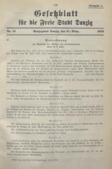 Gesetzblatt für die Freie Stadt Danzig.1933, Nr. 15 (15 März) - Ausgabe A
