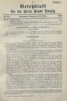 Gesetzblatt für die Freie Stadt Danzig.1933, Nr. 19 (29 März) - Ausgabe A