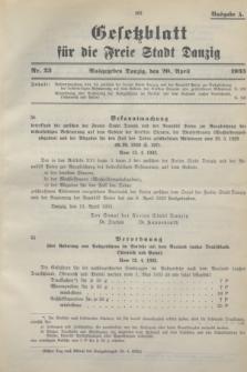 Gesetzblatt für die Freie Stadt Danzig.1933, Nr. 23 (20 April) - Ausgabe A