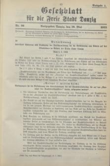 Gesetzblatt für die Freie Stadt Danzig.1933, Nr. 26 (10 Mai) - Ausgabe A