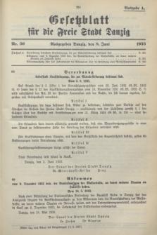 Gesetzblatt für die Freie Stadt Danzig.1933, Nr. 30 (8 Juni) - Ausgabe A