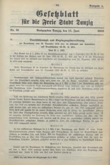 Gesetzblatt für die Freie Stadt Danzig.1933, Nr. 31 (14 Juni) - Ausgabe A