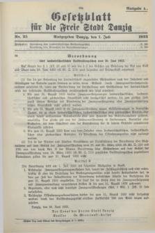 Gesetzblatt für die Freie Stadt Danzig.1933, Nr. 35 (1 Juli) - Ausgabe A