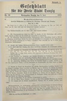 Gesetzblatt für die Freie Stadt Danzig.1933, Nr. 36 (5 Juli) - Ausgabe A