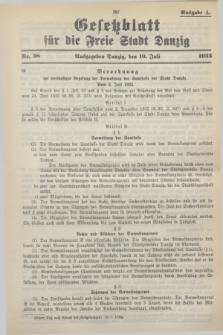Gesetzblatt für die Freie Stadt Danzig.1933, Nr. 38 (10 Juli) - Ausgabe A