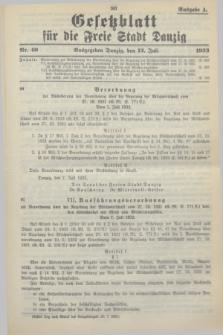 Gesetzblatt für die Freie Stadt Danzig.1933, Nr. 40 (12 Juli) - Ausgabe A