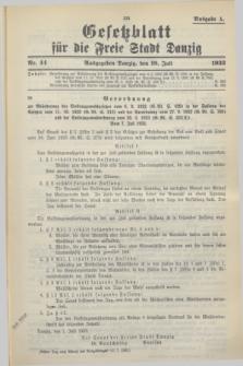 Gesetzblatt für die Freie Stadt Danzig.1933, Nr. 44 (19 Juli) - Ausgabe A